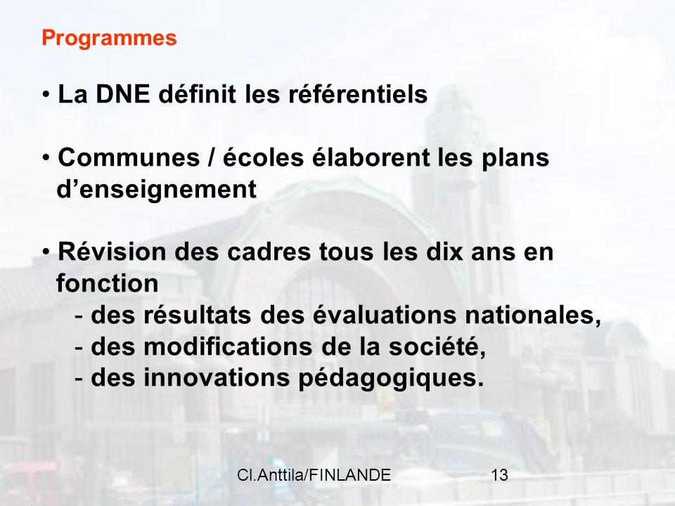 Cl.Anttila/FINLANDE13 Programmes La DNE définit les référentiels Communes / écoles élaborent les plans denseignement Révision des cadres tous les dix