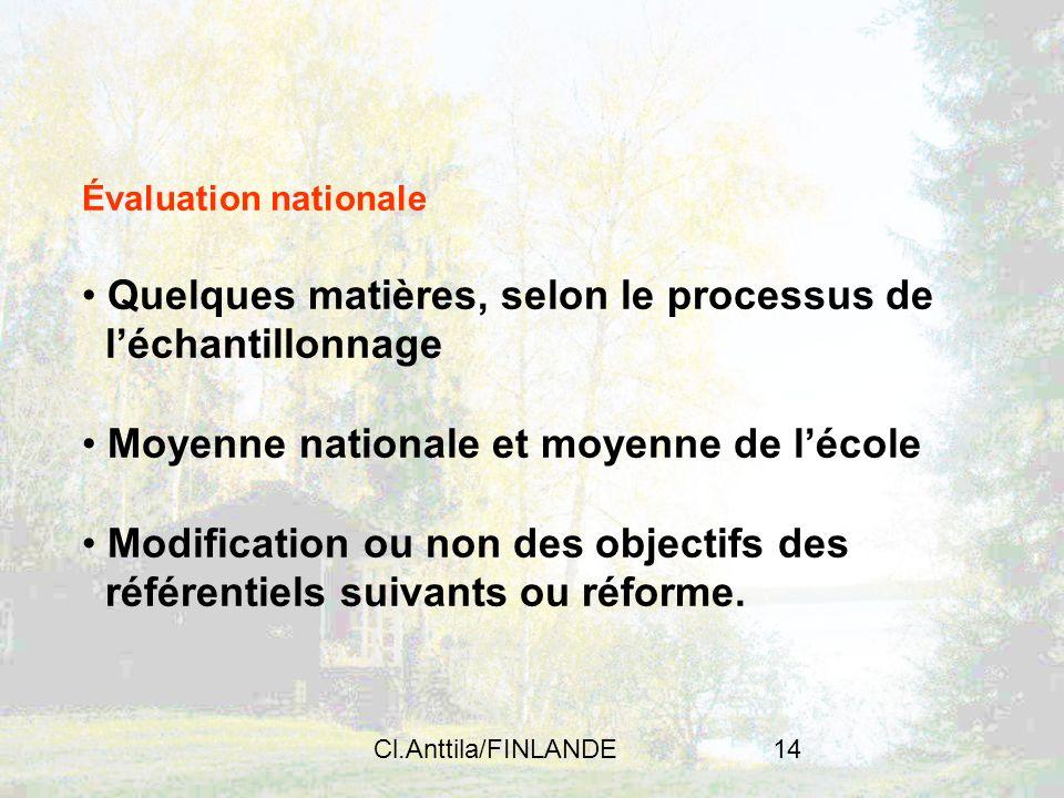 Cl.Anttila/FINLANDE14 Évaluation nationale Quelques matières, selon le processus de léchantillonnage Moyenne nationale et moyenne de lécole Modificati