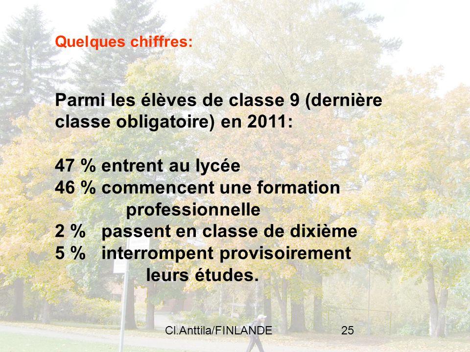 Cl.Anttila/FINLANDE25 Quelques chiffres: Parmi les élèves de classe 9 (dernière classe obligatoire) en 2011: 47 % entrent au lycée 46 % commencent une