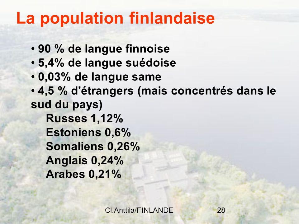 Cl.Anttila/FINLANDE28 La population finlandaise 90 % de langue finnoise 5,4% de langue suédoise 0,03% de langue same 4,5 % d'étrangers (mais concentré