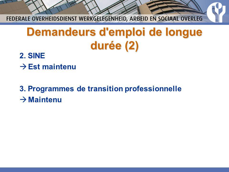 Demandeurs d emploi de longue durée (2) 2. SINE Est maintenu 3.
