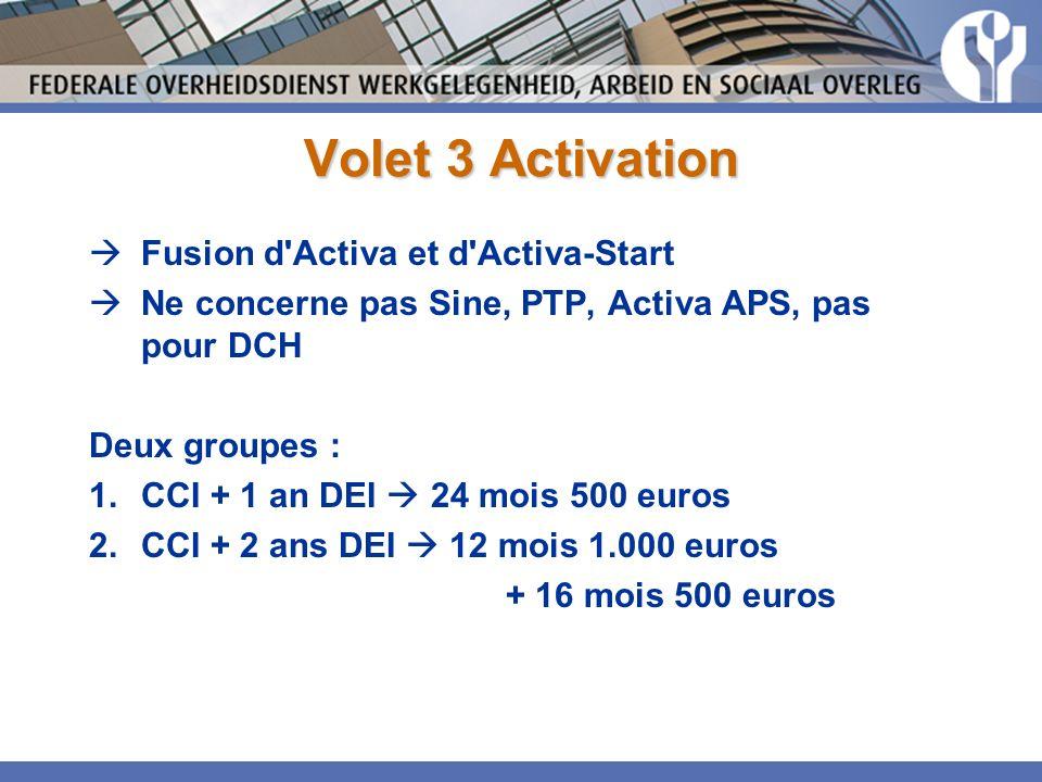 Volet 3 Activation Fusion d Activa et d Activa-Start Ne concerne pas Sine, PTP, Activa APS, pas pour DCH Deux groupes : 1.CCI + 1 an DEI 24 mois 500 euros 2.CCI + 2 ans DEI 12 mois 1.000 euros + 16 mois 500 euros