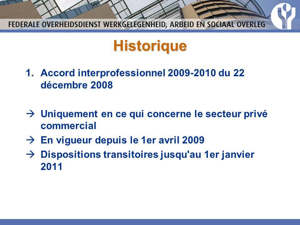 Historique 1.Accord interprofessionnel 2009-2010 du 22 décembre 2008 Uniquement en ce qui concerne le secteur privé commercial En vigueur depuis le 1er avril 2009 Dispositions transitoires jusqu au 1er janvier 2011