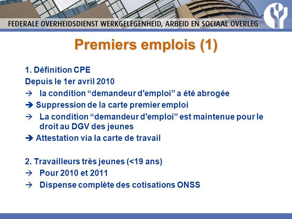 Premiers emplois (1) 1.