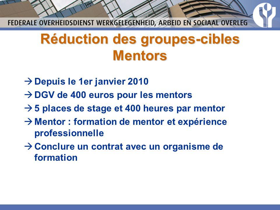 Réduction des groupes-cibles Mentors Depuis le 1er janvier 2010 DGV de 400 euros pour les mentors 5 places de stage et 400 heures par mentor Mentor : formation de mentor et expérience professionnelle Conclure un contrat avec un organisme de formation