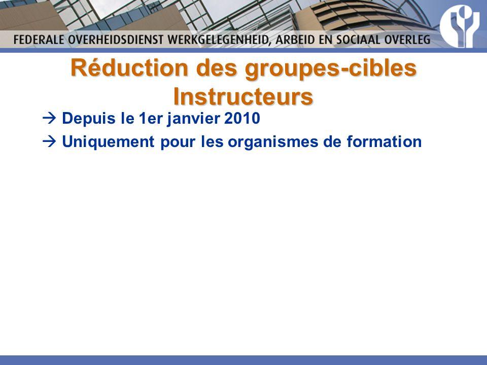 Réduction des groupes-cibles Instructeurs Depuis le 1er janvier 2010 Uniquement pour les organismes de formation
