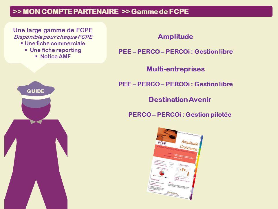 GUIDE >> MON COMPTE PARTENAIRE >> Gamme de FCPE Amplitude PEE – PERCO – PERCOi : Gestion libre Une large gamme de FCPE Disponible pour chaque FCPE Une