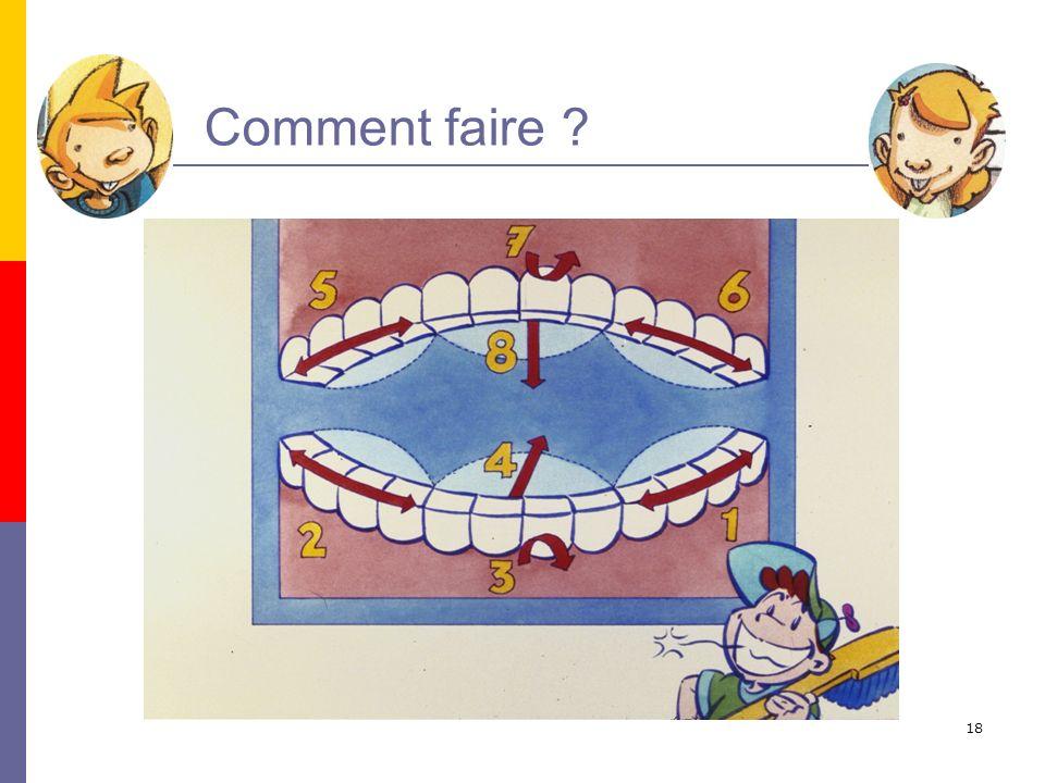 19 Commence par le bas, un seul côté à la fois…10 x Mets la brosse à cheval sur tes dents du bas Nettoie tous les sillons jusquà la grosse dent du fond