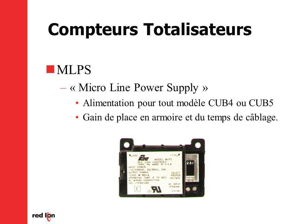 Compteurs Totalisateurs MLPS –« Micro Line Power Supply » Alimentation pour tout modèle CUB4 ou CUB5 Gain de place en armoire et du temps de câblage.