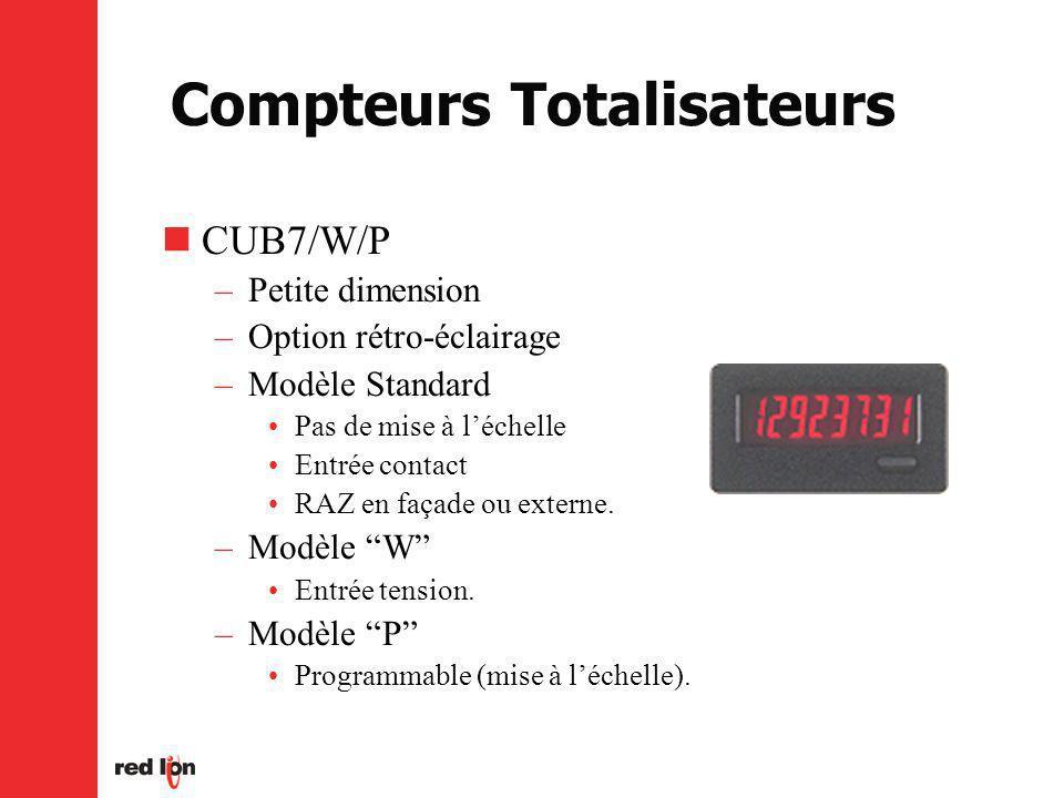 Compteurs Totalisateurs CUB7/W/P –Petite dimension –Option rétro-éclairage –Modèle Standard Pas de mise à léchelle Entrée contact RAZ en façade ou externe.
