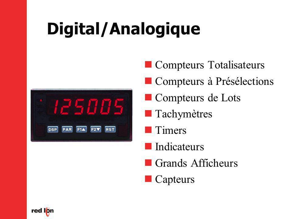 Digital/Analogique Compteurs Totalisateurs Compteurs à Présélections Compteurs de Lots Tachymètres Timers Indicateurs Grands Afficheurs Capteurs