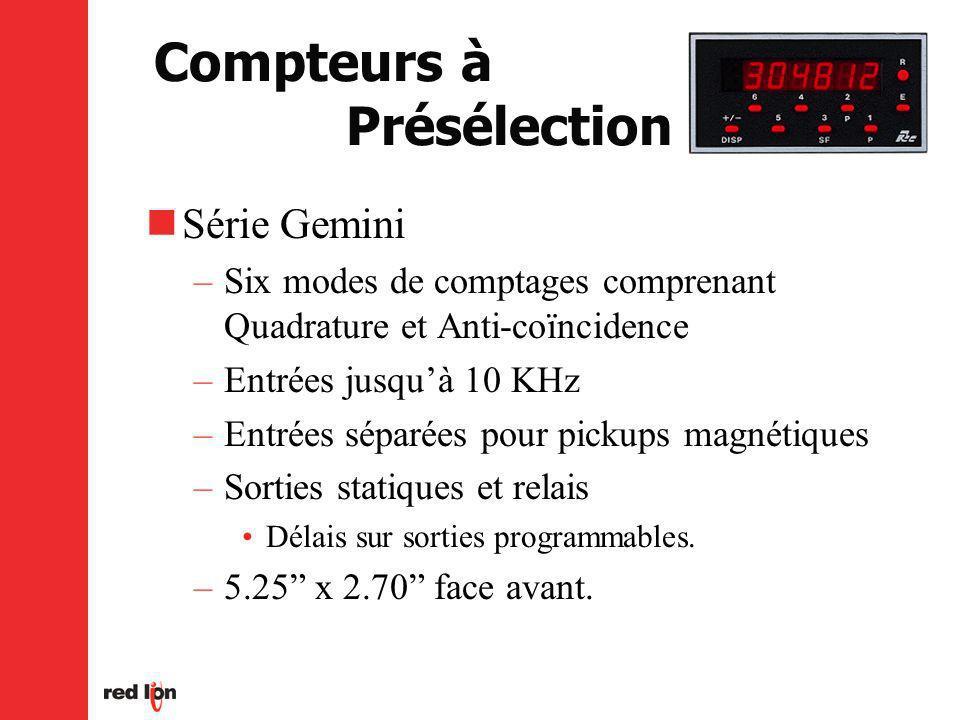 Compteurs à Présélection Série Gemini –Six modes de comptages comprenant Quadrature et Anti-coïncidence –Entrées jusquà 10 KHz –Entrées séparées pour pickups magnétiques –Sorties statiques et relais Délais sur sorties programmables.