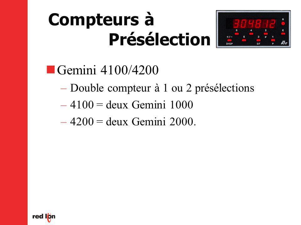 Compteurs à Présélection Gemini 4100/4200 –Double compteur à 1 ou 2 présélections –4100 = deux Gemini 1000 –4200 = deux Gemini 2000.