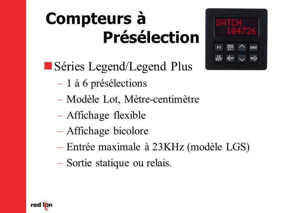 Compteurs à Présélection Séries Legend/Legend Plus –1 à 6 présélections –Modèle Lot, Mètre-centimètre –Affichage flexible –Affichage bicolore –Entrée maximale à 23KHz (modèle LGS) –Sortie statique ou relais.