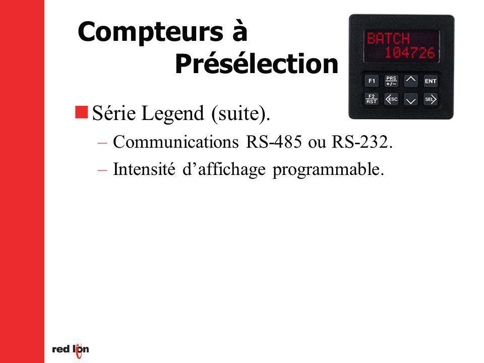 Compteurs à Présélection Série Legend (suite).–Communications RS-485 ou RS-232.