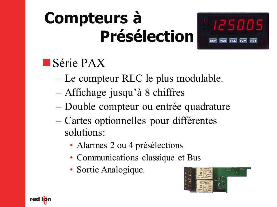 Compteurs à Présélection Série PAX –Le compteur RLC le plus modulable.