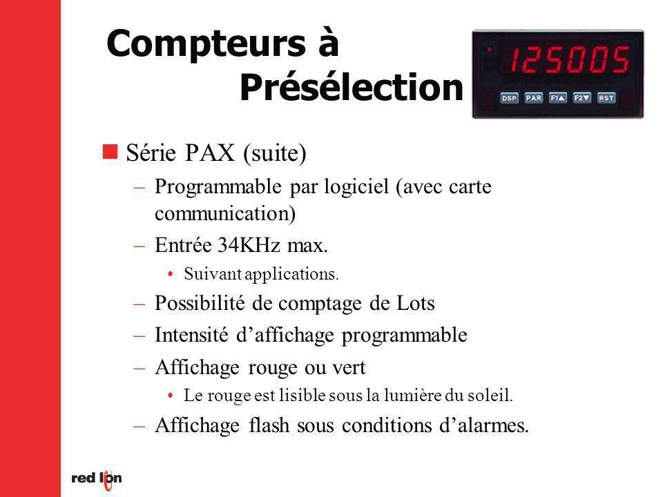 Compteurs à Présélection Série PAX (suite) –Programmable par logiciel (avec carte communication) –Entrée 34KHz max.