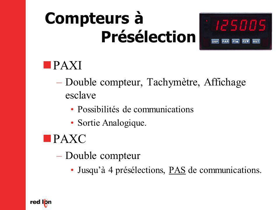 Compteurs à Présélection PAXI –Double compteur, Tachymètre, Affichage esclave Possibilités de communications Sortie Analogique.