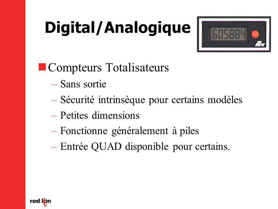 Digital/Analogique Compteurs Totalisateurs –Sans sortie –Sécurité intrinsèque pour certains modèles –Petites dimensions –Fonctionne généralement à piles –Entrée QUAD disponible pour certains.