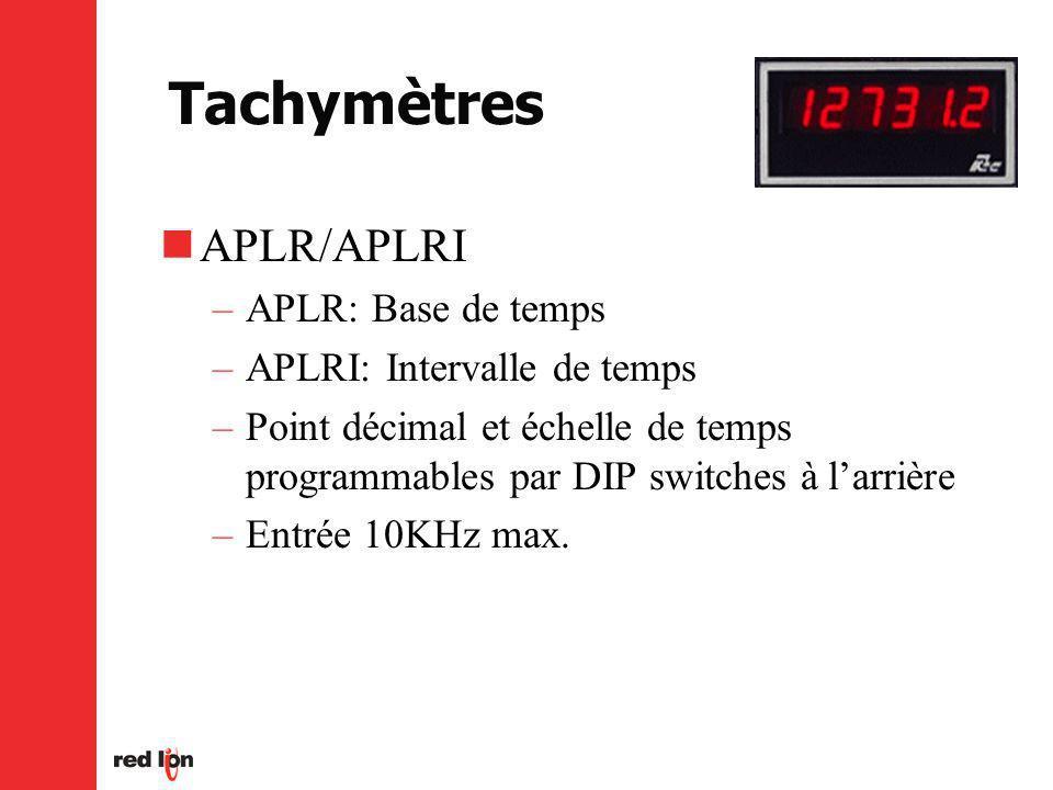 APLR/APLRI –APLR: Base de temps –APLRI: Intervalle de temps –Point décimal et échelle de temps programmables par DIP switches à larrière –Entrée 10KHz max.