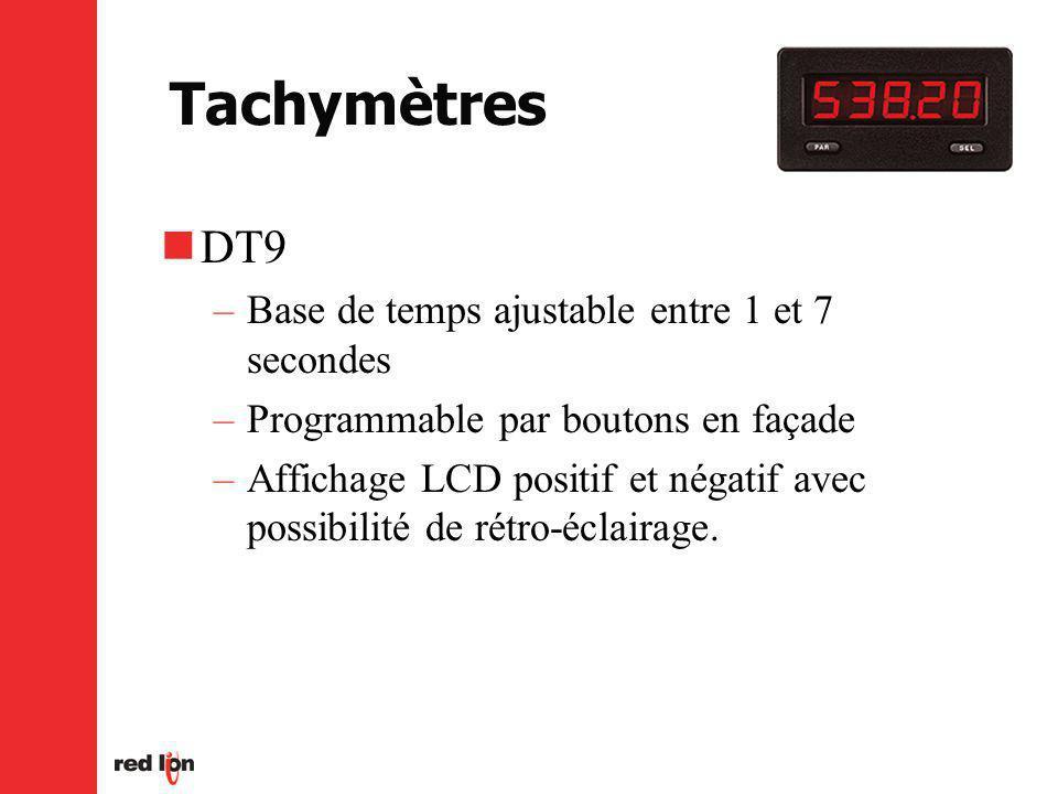 Tachymètres DT9 –Base de temps ajustable entre 1 et 7 secondes –Programmable par boutons en façade –Affichage LCD positif et négatif avec possibilité de rétro-éclairage.