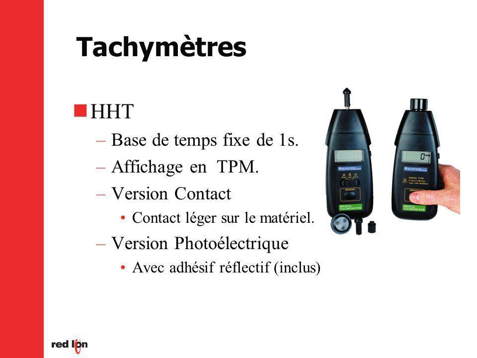 Tachymètres HHT –Base de temps fixe de 1s.–Affichage en TPM.