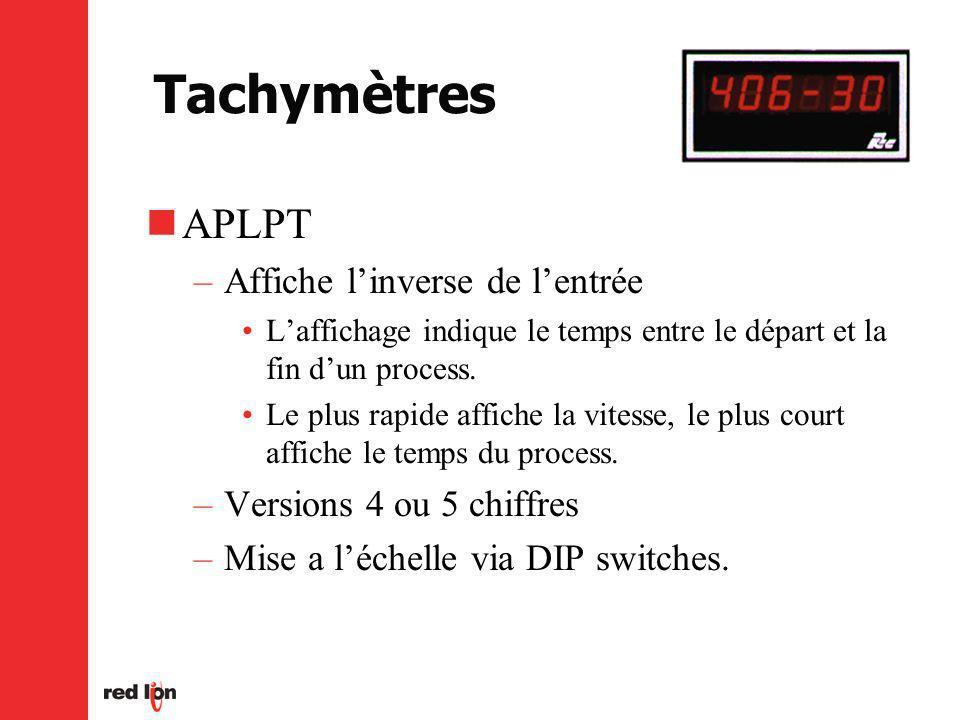 Tachymètres APLPT –Affiche linverse de lentrée Laffichage indique le temps entre le départ et la fin dun process.