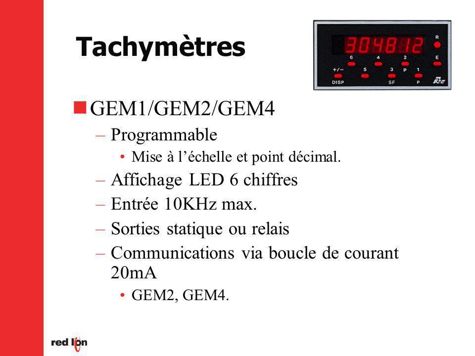 Tachymètres GEM1/GEM2/GEM4 –Programmable Mise à léchelle et point décimal.