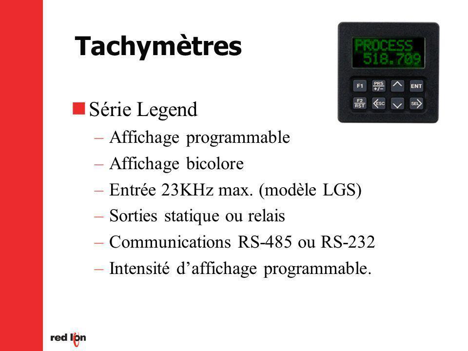 Tachymètres Série Legend –Affichage programmable –Affichage bicolore –Entrée 23KHz max.