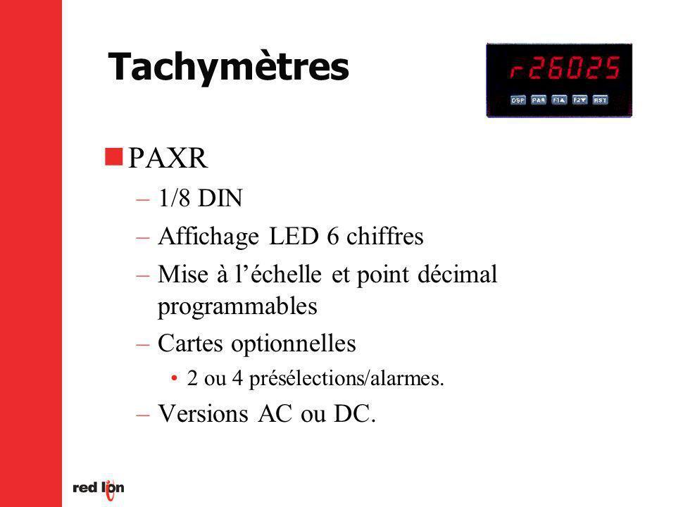 Tachymètres PAXR –1/8 DIN –Affichage LED 6 chiffres –Mise à léchelle et point décimal programmables –Cartes optionnelles 2 ou 4 présélections/alarmes.