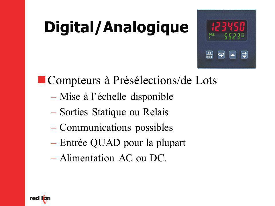 Digital/Analogique Compteurs à Présélections/de Lots –Mise à léchelle disponible –Sorties Statique ou Relais –Communications possibles –Entrée QUAD pour la plupart –Alimentation AC ou DC.