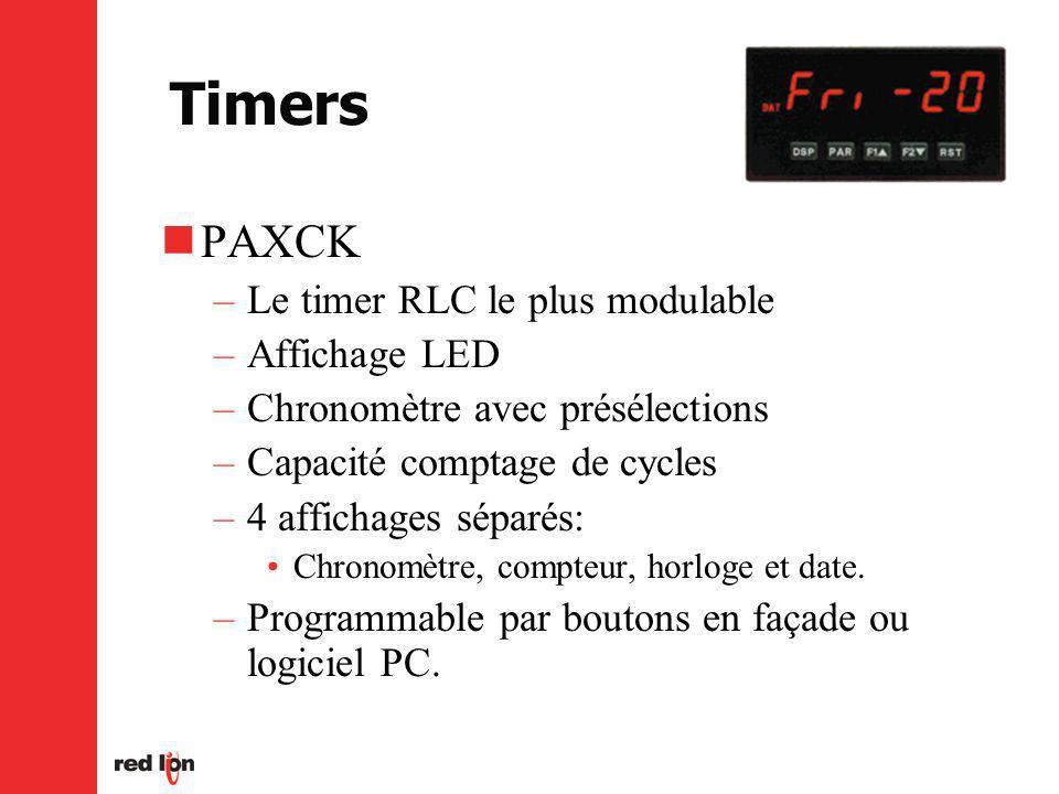 Timers PAXCK –Le timer RLC le plus modulable –Affichage LED –Chronomètre avec présélections –Capacité comptage de cycles –4 affichages séparés: Chronomètre, compteur, horloge et date.