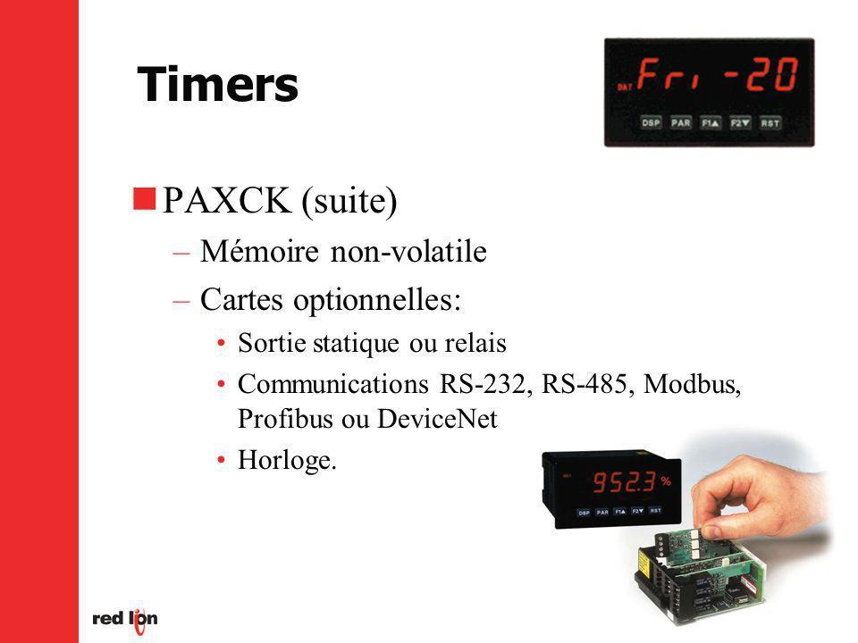 Timers PAXCK (suite) –Mémoire non-volatile –Cartes optionnelles: Sortie statique ou relais Communications RS-232, RS-485, Modbus, Profibus ou DeviceNet Horloge.