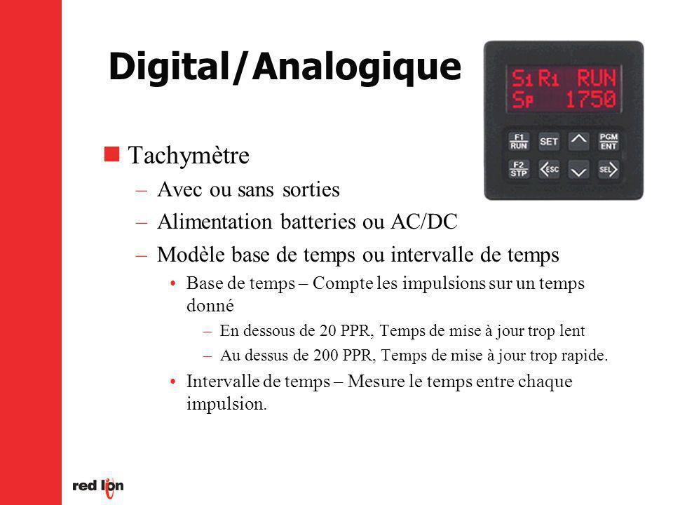 Digital/Analogique Tachymètre –Avec ou sans sorties –Alimentation batteries ou AC/DC –Modèle base de temps ou intervalle de temps Base de temps – Compte les impulsions sur un temps donné –En dessous de 20 PPR, Temps de mise à jour trop lent –Au dessus de 200 PPR, Temps de mise à jour trop rapide.