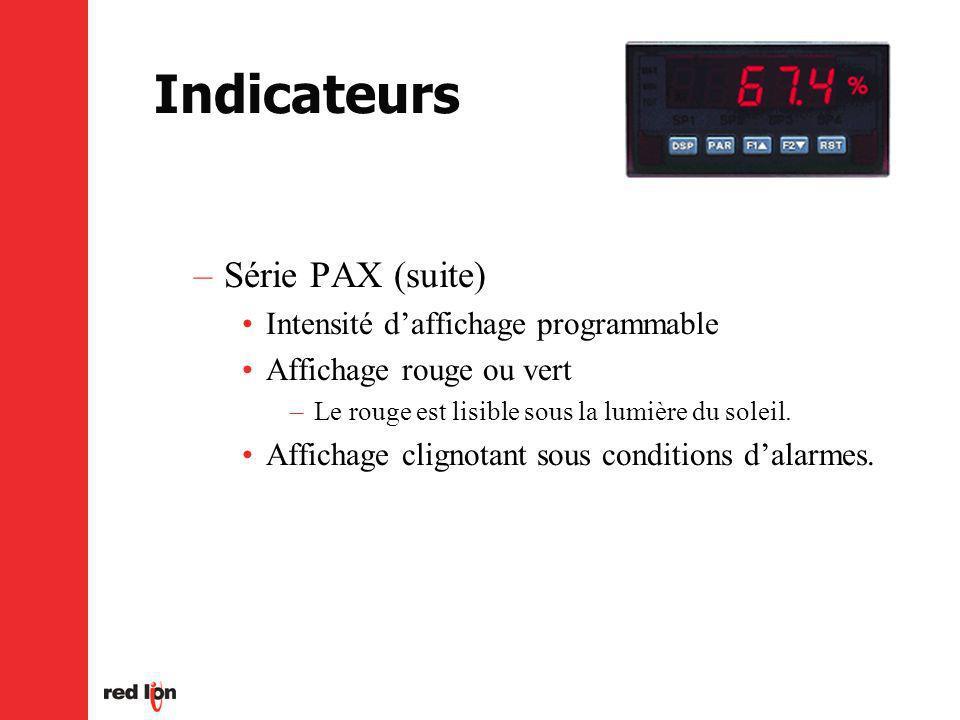 Indicateurs –Série PAX (suite) Intensité daffichage programmable Affichage rouge ou vert –Le rouge est lisible sous la lumière du soleil.