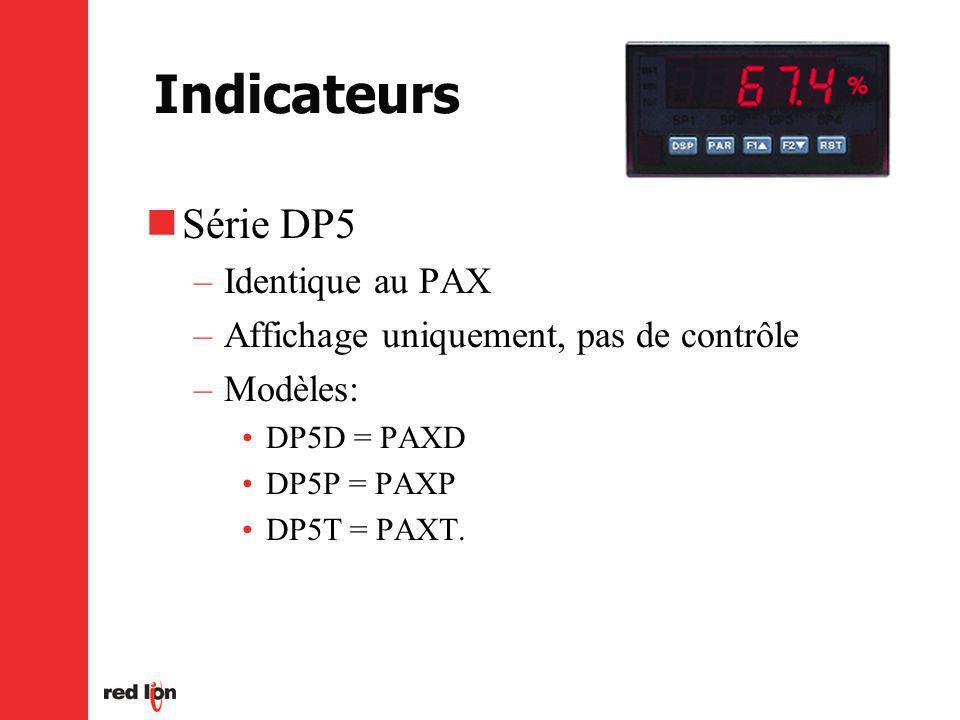 Indicateurs Série DP5 –Identique au PAX –Affichage uniquement, pas de contrôle –Modèles: DP5D = PAXD DP5P = PAXP DP5T = PAXT.