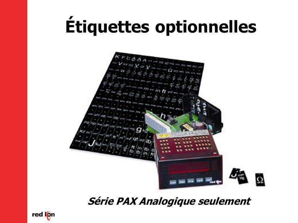 Série PAX Analogique seulement Étiquettes optionnelles