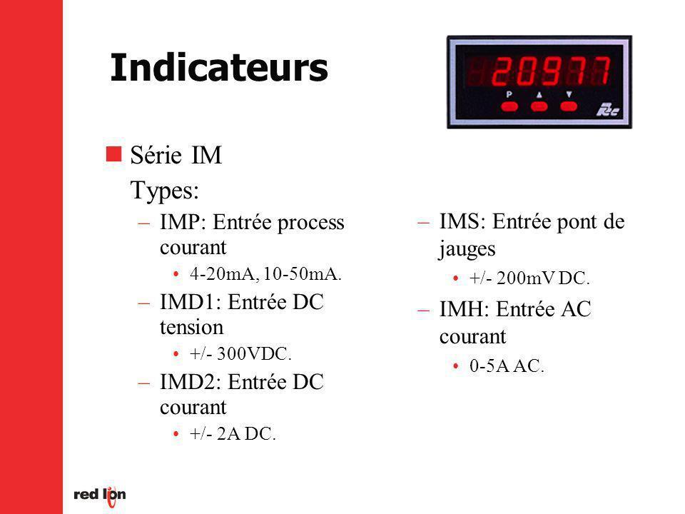 Indicateurs Série IM Types: –IMP: Entrée process courant 4-20mA, 10-50mA.