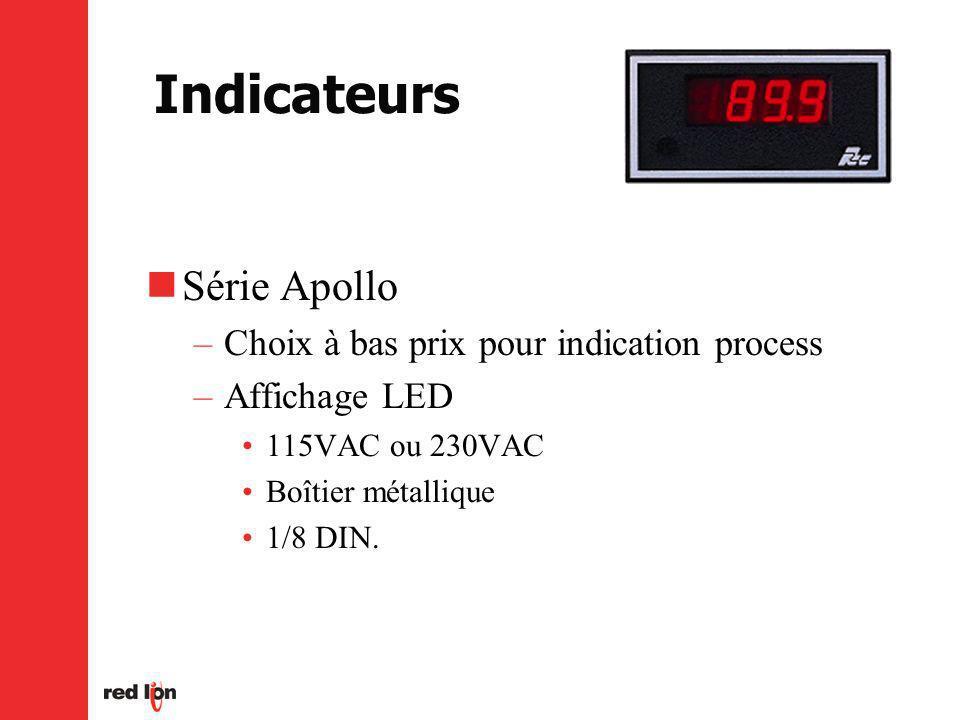 Indicateurs Série Apollo –Choix à bas prix pour indication process –Affichage LED 115VAC ou 230VAC Boîtier métallique 1/8 DIN.
