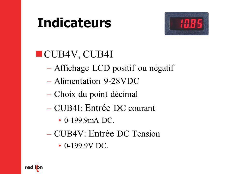 Indicateurs CUB4V, CUB4I –Affichage LCD positif ou négatif –Alimentation 9-28VDC –Choix du point décimal –CUB4I: Entrée DC courant 0-199.9mA DC.