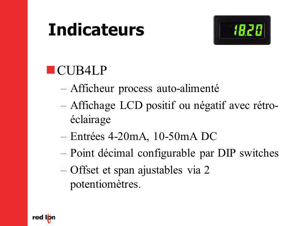 Indicateurs CUB4LP –Afficheur process auto-alimenté –Affichage LCD positif ou négatif avec rétro- éclairage –Entrées 4-20mA, 10-50mA DC –Point décimal configurable par DIP switches –Offset et span ajustables via 2 potentiomètres.