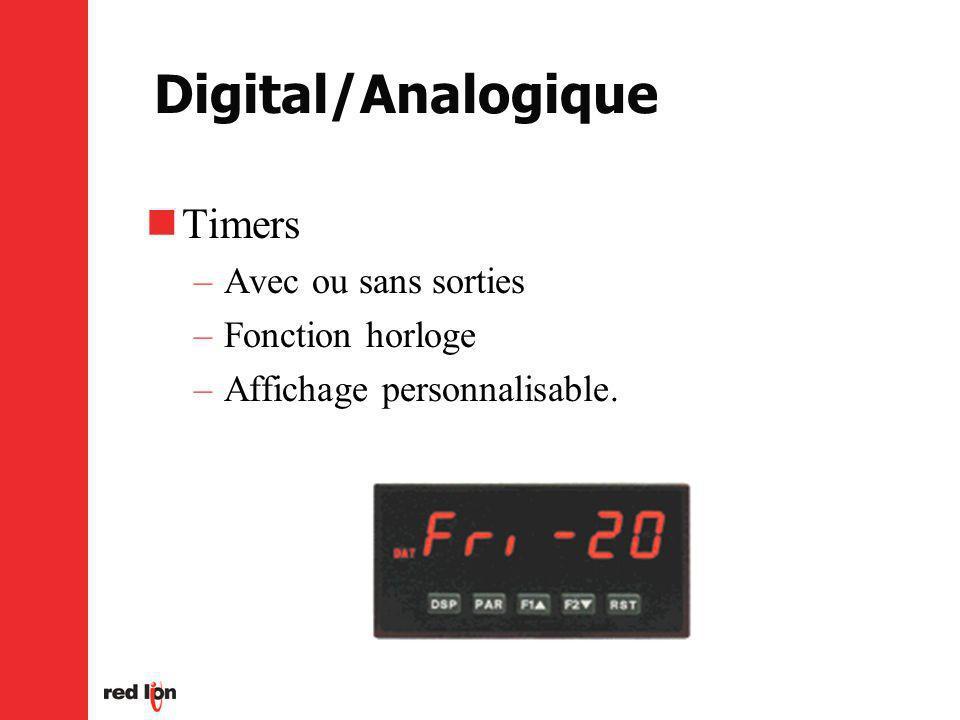 Digital/Analogique Timers –Avec ou sans sorties –Fonction horloge –Affichage personnalisable.