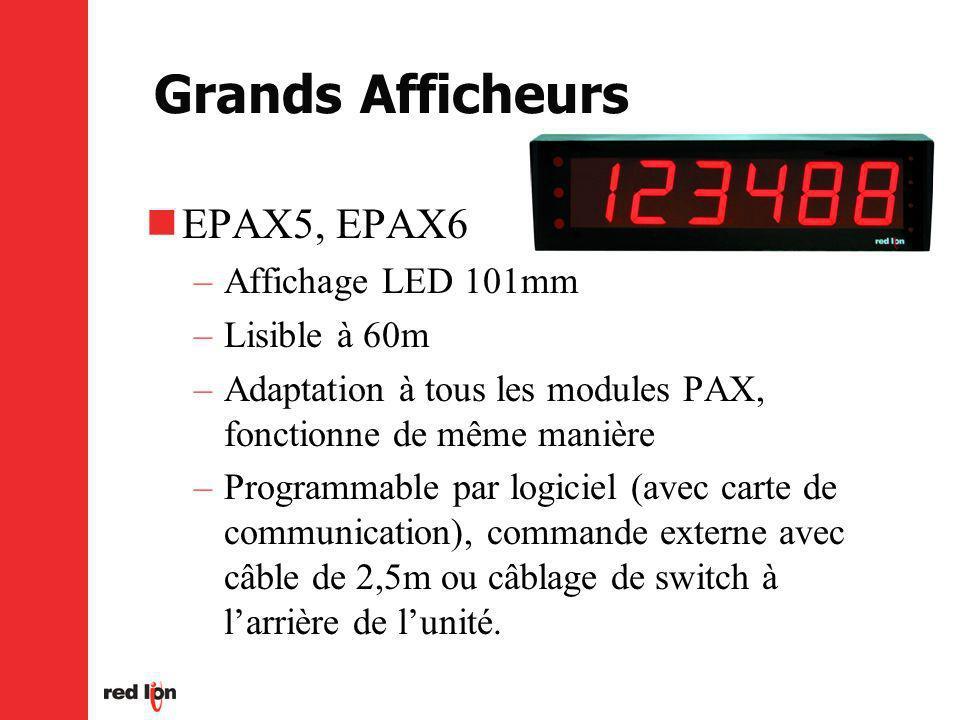 EPAX5, EPAX6 –Affichage LED 101mm –Lisible à 60m –Adaptation à tous les modules PAX, fonctionne de même manière –Programmable par logiciel (avec carte de communication), commande externe avec câble de 2,5m ou câblage de switch à larrière de lunité.