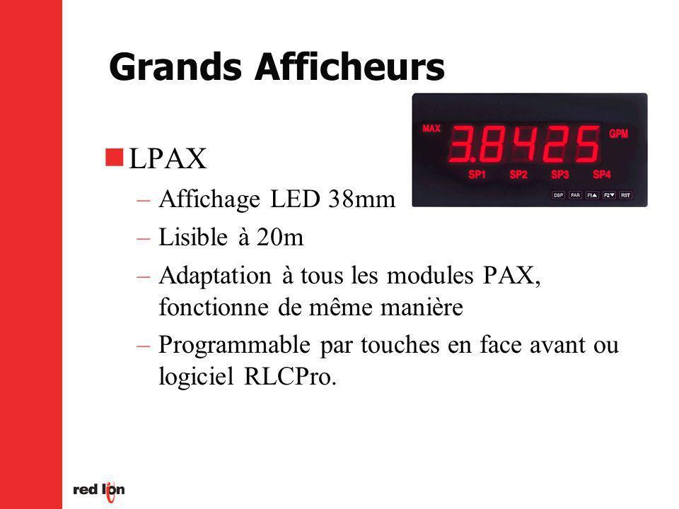 Grands Afficheurs LPAX –Affichage LED 38mm –Lisible à 20m –Adaptation à tous les modules PAX, fonctionne de même manière –Programmable par touches en face avant ou logiciel RLCPro.
