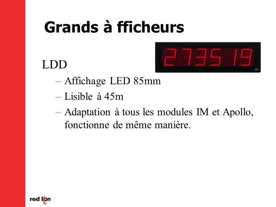 Grands à fficheurs LDD –Affichage LED 85mm –Lisible à 45m –Adaptation à tous les modules IM et Apollo, fonctionne de même manière.