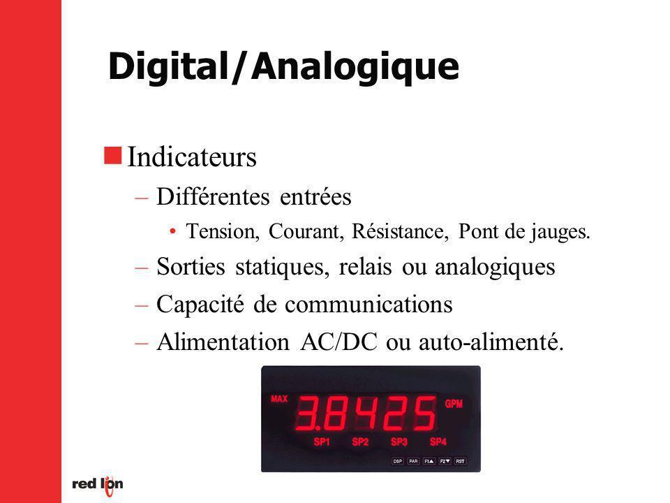 Digital/Analogique Indicateurs –Différentes entrées Tension, Courant, Résistance, Pont de jauges.