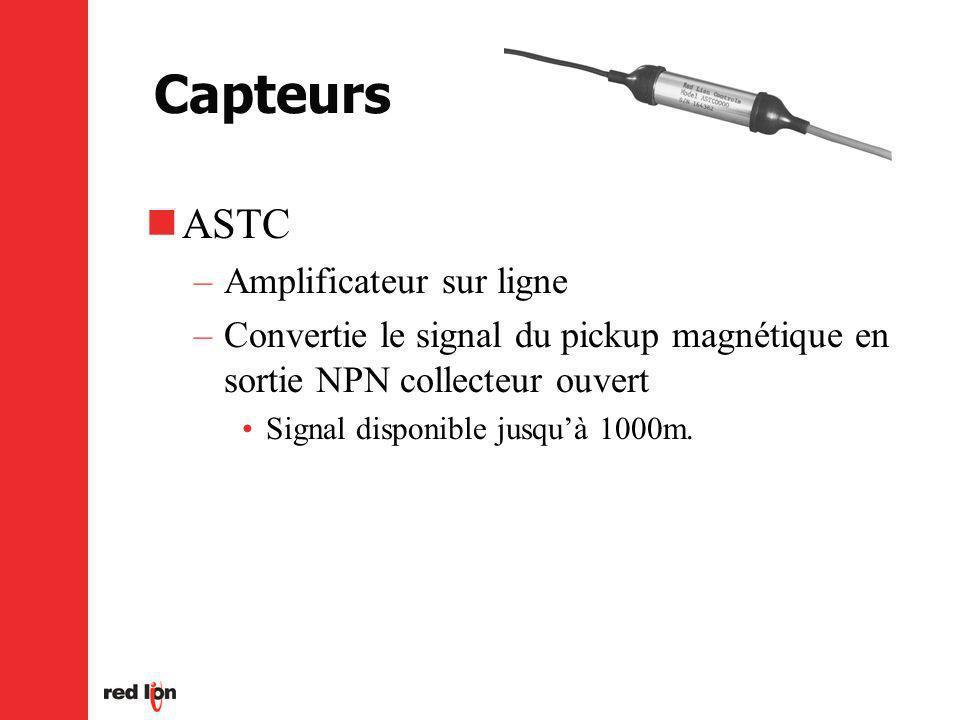 Capteurs ASTC –Amplificateur sur ligne –Convertie le signal du pickup magnétique en sortie NPN collecteur ouvert Signal disponible jusquà 1000m.