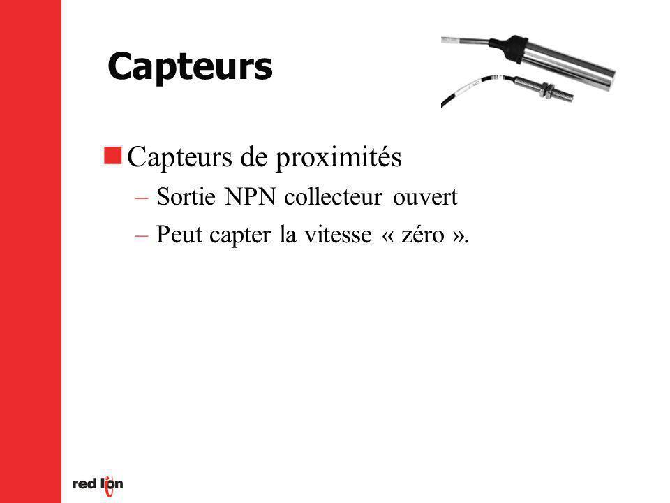 Capteurs Capteurs de proximités –Sortie NPN collecteur ouvert –Peut capter la vitesse « zéro ».