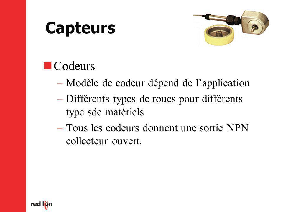 Capteurs Codeurs –Modèle de codeur dépend de lapplication –Différents types de roues pour différents type sde matériels –Tous les codeurs donnent une sortie NPN collecteur ouvert.