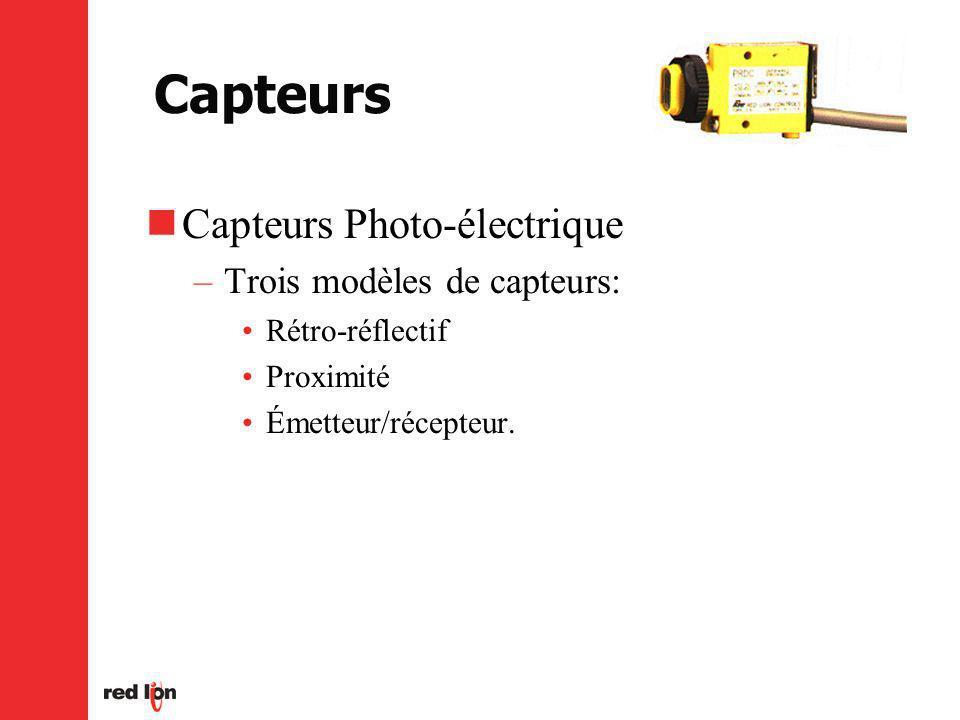 Capteurs Capteurs Photo-électrique –Trois modèles de capteurs: Rétro-réflectif Proximité Émetteur/récepteur.